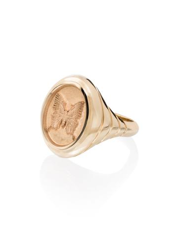 Retrouvai 14kt Yellow Gold Grandfather Butterfly Signet Ring