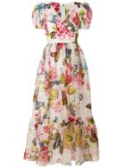 Dolce & Gabbana Floral Printed Flared Dress - Multicolour