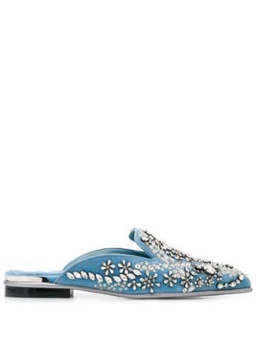 Alexander Mcqueen Rhinestone Embellished Slippers - Blue