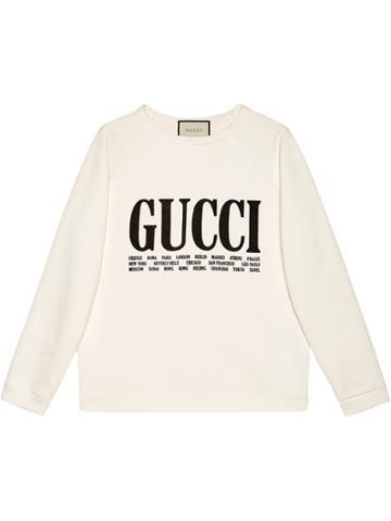 Gucci Gucci Cities Print Sweatshirt - White