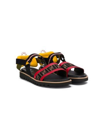Fendi Kids Logo Print Sandals - Black