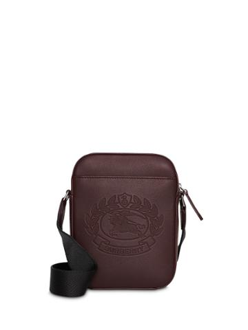 Burberry Small Embossed Crest Leather Crossbody Bag - Brown