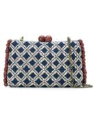 Serpui - Geometric Pattern Clutch - Women - Straw (brown) - One Size, Straw