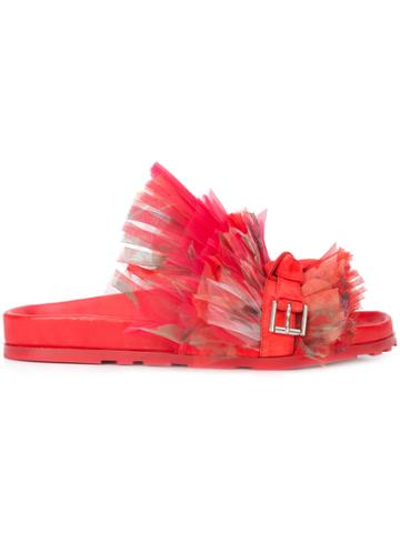 Alexander Mcqueen Frill Lace Slides - Red