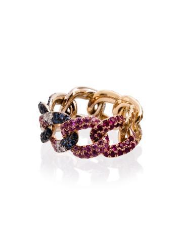 Shay 18kt Yellow Gold And Diamond Rainbow Jumbo Link Ring - Metallic