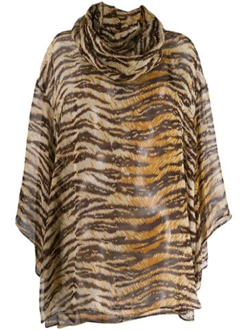 Dolce & Gabbana Pre-owned 1990's Tiger Print Sheer Blouse - Brown