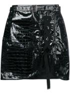Self-portrait Laced Front Mini Skirt - Black