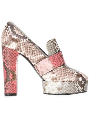 Casadei Zambe Snakeskin Heeled Pumps - Grey