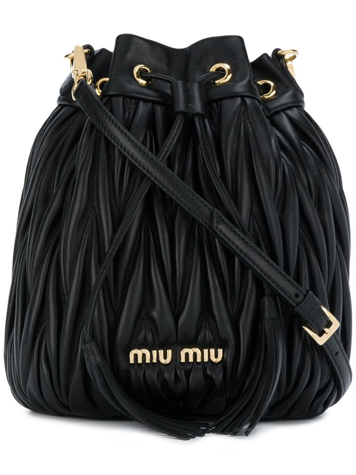 Miu Miu Matelassé Bucket Bag - Black