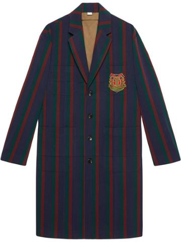 Gucci Striped Wool Coat With Crest - Blue