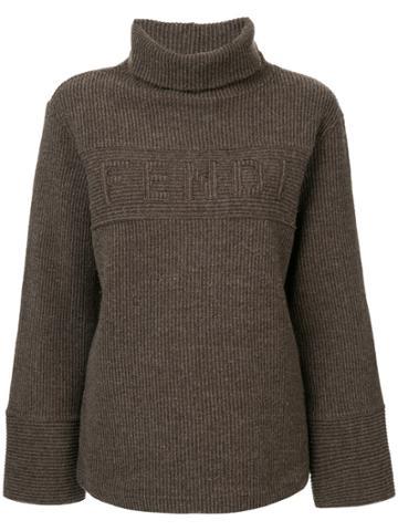 Fendi Vintage Logo Ribbed Jumper - Brown