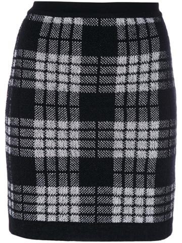 Balmain - Plaid High Waist Skirt - Women - Polyamide/viscose/mohair/wool - 40, Black, Polyamide/viscose/mohair/wool
