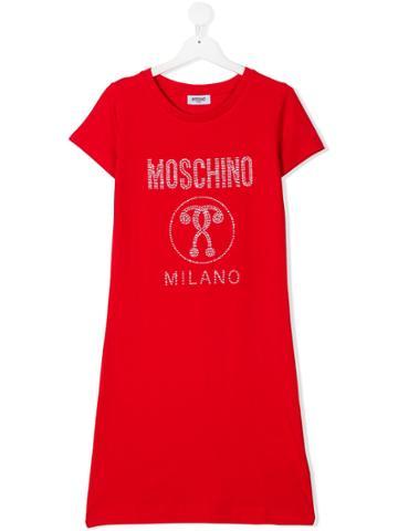 Moschino Kids Crystal Embellished Logo Dress - Red