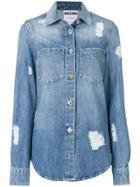 Moschino Distressed Denim Shirt - Blue