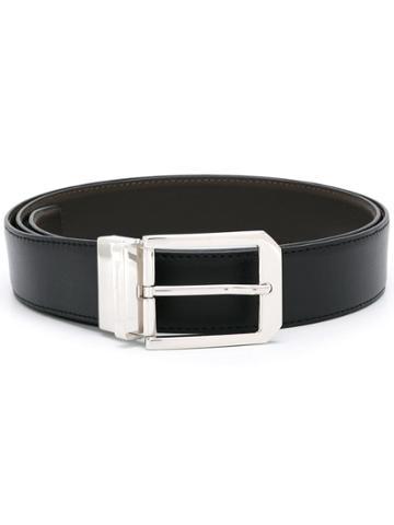 Ermenegildo Zegna Silver-tone Hardware Belt - Black