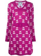 Moschino Teddy Intarsia Knitted Dress - Pink