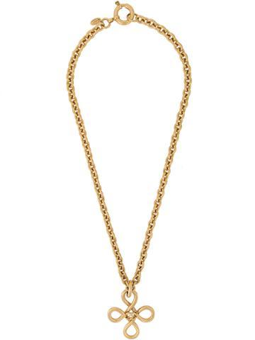 Chanel Vintage Cross Logo Long Necklace - Metallic