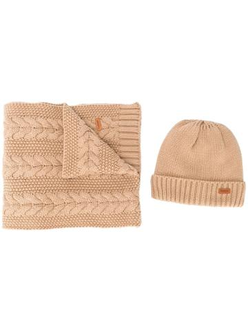 Barbour Knitted Hat And Scarf Set - Brown