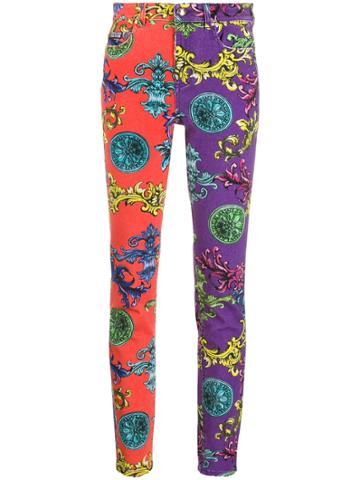 Versace Jeans Couture Baroque Print Skinny Jeans - Red