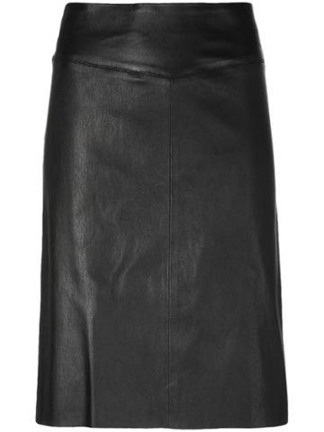 Joseph - Panelled Fitted Skirt - Women - Lamb Skin - 36, Black, Lamb Skin