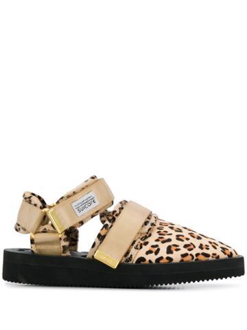 Suicoke Leopard Print Multi Strap Slippers - Neutrals