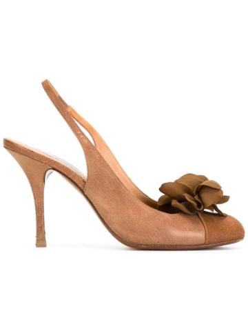 Lanvin Pre-owned Flower Sling Back Pumps - Brown