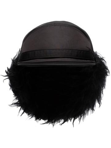 Prada Faux Fur-lined Nylon Trapper Hat - Black