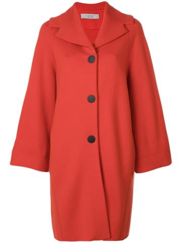 D.exterior - Cape Style Coat - Women - Wool/polyester - M, Red, Wool/polyester