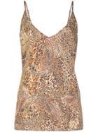 L'agence Silk Leopard-print Vest Top - Brown