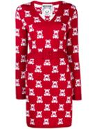 Moschino Jacquard Teddy Bear Belted Dress - Red