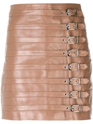 Manokhi - Belt Embellished Short Skirt - Women - Leather/viscose/polyester - 36, Nude/neutrals, Leather/viscose/polyester
