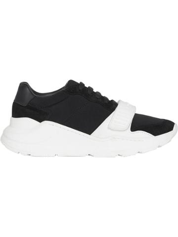 Burberry Suede, Neoprene And Leather Sneakers - Black