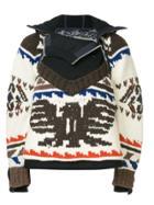 Sacai Eagle Knit Hooded Jacket - Multicolour