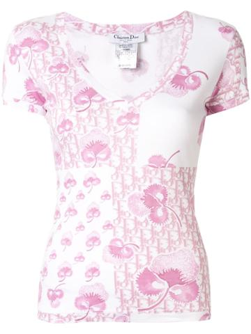 Christian Dior Pre-owned Logo And Floral Print Top - White