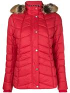 Barbour Fur Hood Trim Puffer Jacket - Red