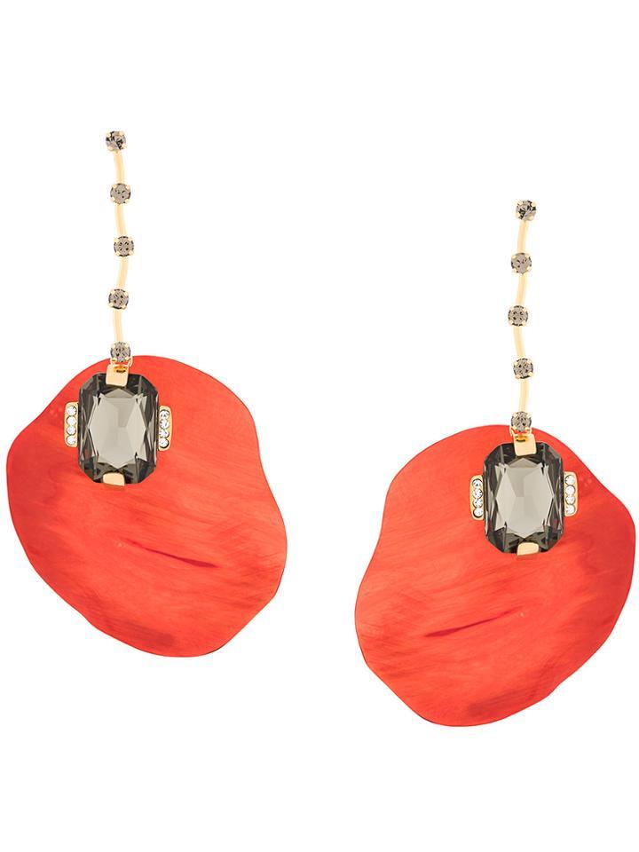 Marni Gemstone Drop Earrings - Red