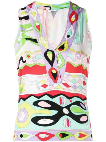 Emilio Pucci Pre-owned Psychedelic Print Sleeveless Blouse - Green
