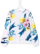 Msgm Kids Teen Floral Print Sweatshirt - White