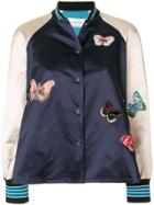 Valentino Butterfly Embroidered Bomber Jacket - Blue