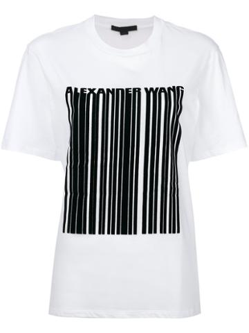 Alexander Wang - Barcode Logo Printed T-shirt - Women - Cotton - S, White, Cotton