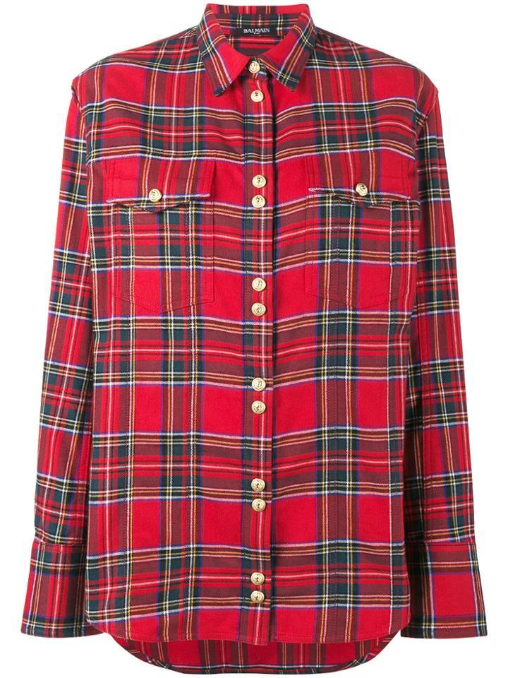 Balmain Plaid Shirt - Red