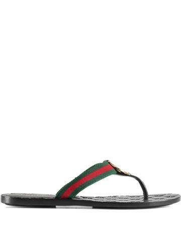 Gucci Gg Logo Monogram Flip Flop - Black