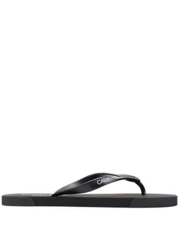 Calvin Klein Logo Print Flip Flops - Black