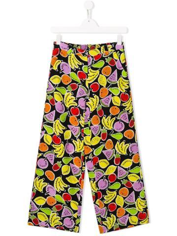 Stella Mccartney Kids Fruit Print Wide Leg Trousers - Black