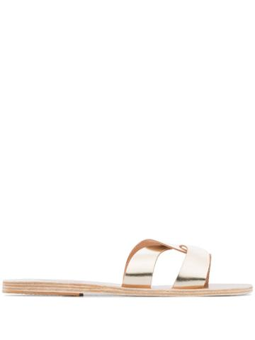 Ancient Greek Sandals Metallic Desmos Leather Slides