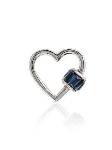 Marla Aaron Sapphire And 14k White Gold Heart Lock Charm - Metallic
