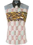 Prada Studded Printed Sleeveless Shirt - Multicolour