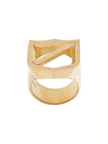 Ambush Chunky Crest Ring, Adult Unisex, Size: Small, Metallic