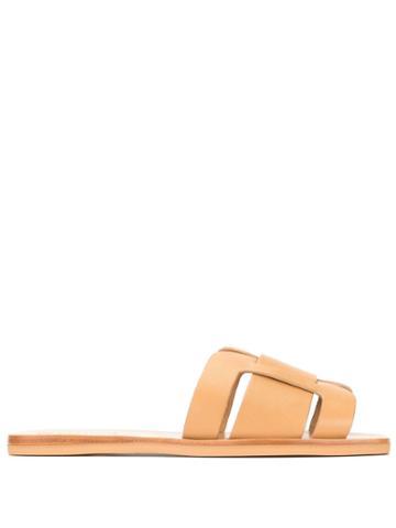 Mercedes Castillo Woven Detail Slides - Brown