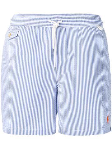 Polo Ralph Lauren Drawstring Striped Swim Shorts, Men's, Size: Large, Blue, Cotton/polyester